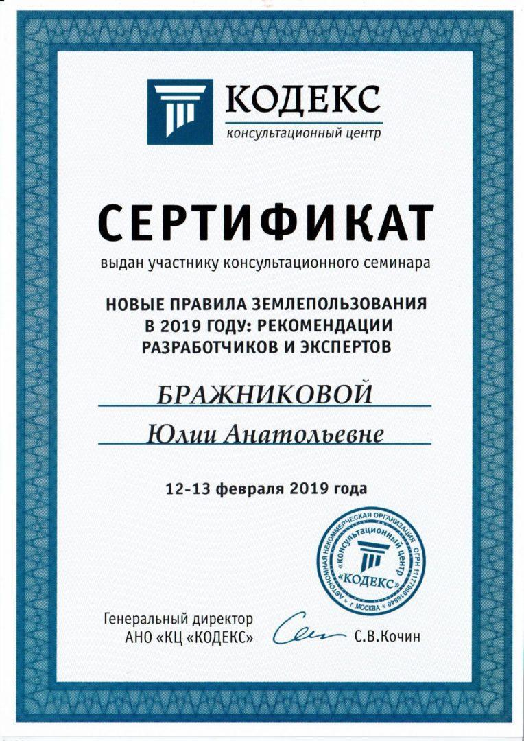 Сертификат выдан Бражниковой Юлии Анатольевне